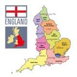 Πολιτικός χάρτης της Αγγλίας με τις περιοχές και τα κεφάλαιά τους Στοκ φωτογραφία με δικαίωμα ελεύθερης χρήσης
