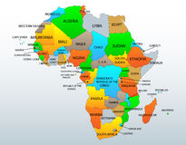 Πολιτικός χάρτης της Αφρικής διανυσματική απεικόνιση