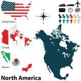 Πολιτικός χάρτης της Βόρειας Αμερικής Στοκ εικόνα με δικαίωμα ελεύθερης χρήσης