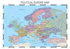 Πολιτικός χάρτης της Ευρώπης Στοκ Φωτογραφία