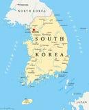 Πολιτικός χάρτης της Νότιας Κορέας Στοκ Εικόνες