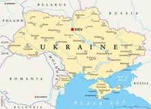 Πολιτικός χάρτης της Ουκρανίας Στοκ Εικόνα