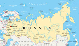 Πολιτικός χάρτης της Ρωσίας Στοκ φωτογραφίες με δικαίωμα ελεύθερης χρήσης