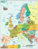 Πολιτικός χάρτης τμημάτων περιοχών της Ευρώπης Στοκ φωτογραφία με δικαίωμα ελεύθερης χρήσης