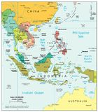 Πολιτικός χάρτης τμημάτων περιοχών της Νοτιοανατολικής Ασίας Στοκ Εικόνες