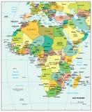 Πολιτικός χάρτης τμημάτων της Αφρικής Στοκ εικόνα με δικαίωμα ελεύθερης χρήσης