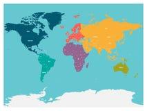 Πολιτικός χάρτης του κόσμου με την Ανταρκτική Ήπειροι στα διαφορετικά χρώματα στο μπλε υπόβαθρο ελεύθερη απεικόνιση δικαιώματος