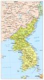 Πολιτικός χάρτης χερσονήσων της Κορέας, χάρτης της Βόρειας και Νότια Κορέας Στοκ φωτογραφία με δικαίωμα ελεύθερης χρήσης