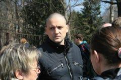 Πολιτικός Sergei Udaltsov στη συνεδρίαση των υπερασπιστών του δάσους Khimki Στοκ Εικόνες
