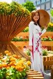 Πολιτισμός Ασία Ασιατική γυναίκα στο παραδοσιακό φόρεμα (ενδύματα), Coni Στοκ εικόνες με δικαίωμα ελεύθερης χρήσης