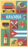 Πολιτιστικά σύμβολα της Κούβας Αβάνα σε μια αφίσα και μια κάρτα Στοκ Φωτογραφία
