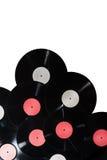 Πολλοί βινυλίου κόκκινη και άσπρη ετικέτα δίσκων Στοκ φωτογραφία με δικαίωμα ελεύθερης χρήσης