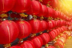 Πολλοί κόκκινο κινεζικό φανάρι Στοκ Εικόνα
