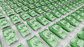 Πολλοί πράσινος αμερικανικός στρατός τοποθετούν σε δεξαμενή, εναέρια ζωτικότητα κινούμενων σχεδίων άποψης Άνευ ραφής loopable 4K  ελεύθερη απεικόνιση δικαιώματος