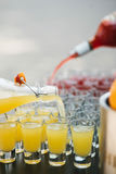 Πολλοί πυροβολισμοί γυαλιού στους οποίους χύστε από το μπουκάλι ένα κίτρινο και κόκκινο κοκτέιλ Στοκ Εικόνες