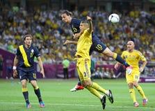 Ποδοσφαιρικό παιχνίδι Ουκρανία του 2012 ΕΥΡΏ UEFA εναντίον της Σουηδίας Στοκ εικόνα με δικαίωμα ελεύθερης χρήσης