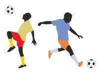 Ποδοσφαιριστές silhouetes Στοκ φωτογραφίες με δικαίωμα ελεύθερης χρήσης