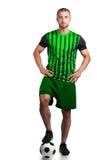 Ποδοσφαιριστής με το ποδόσφαιρο Στοκ φωτογραφία με δικαίωμα ελεύθερης χρήσης