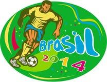 Ποδοσφαιριστής ποδοσφαίρου της Βραζιλίας 2014 που οργανώνεται αναδρομικός Στοκ Εικόνα