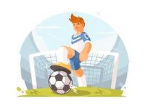Ποδοσφαιριστής χαρακτήρα κινουμένων σχεδίων ελεύθερη απεικόνιση δικαιώματος