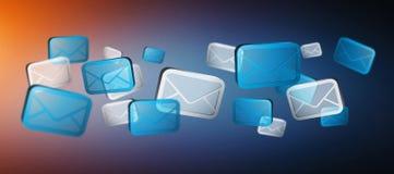 Πολυάριθμα άσπρα και μπλε εικονίδια ηλεκτρονικού ταχυδρομείου που πετούν το «τρισδιάστατο rendering' Στοκ Φωτογραφία