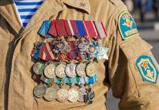 Πολυάριθμα στρατιωτικά βραβεία και μετάλλια Στοκ Εικόνες