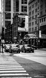 Πολυάσχολη ζωή του Σικάγου μαύρο λευκό Στοκ Εικόνα