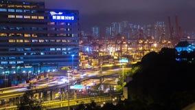 Πολυάσχολοι δρόμος και λιμένας Timelapse φόρτωσης Cargos. Χονγκ Κονγκ. Ζουμ στον πυροβολισμό. απόθεμα βίντεο