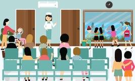 Πολυάσχολος ασθενής νοσοκόμων δραστηριοτήτων διαδρόμων νοσοκομείων στον περιμένοντας γιατρό σειρών αναμονής απεικόνιση αποθεμάτων