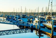 Πολυάσχολο λιμάνι στο ηλιοβασίλεμα Στοκ εικόνα με δικαίωμα ελεύθερης χρήσης