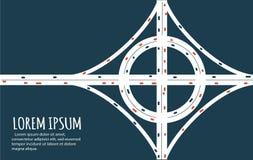 Πολυάσχολο minimalistic έμβλημα οδικών συνδέσεων εθνικών οδών απεικόνιση αποθεμάτων