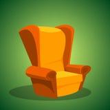 Πολυθρόνα σε ένα πράσινο υπόβαθρο επίσης corel σύρετε το διάνυσμα απεικόνισης Στοκ Φωτογραφία