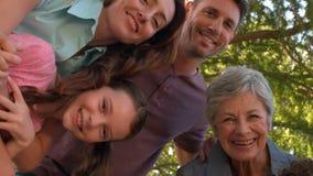 Πολυμελής οικογένεια που χαμογελά στο πάρκο απόθεμα βίντεο