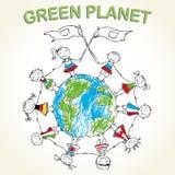 Πολυπολιτισμικά παιδιά στο πλανήτη Γη Στοκ εικόνα με δικαίωμα ελεύθερης χρήσης