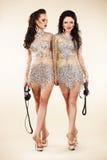 Πολυτέλεια. Δύο καθιερώνουσες τη μόδα γυναίκες που περπατούν στα λαμπρά φωτεινά φορέματα στοκ εικόνες