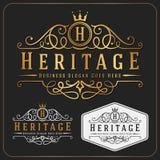 Πολυτελές βασιλικό πρότυπο σχεδίου λογότυπων διανυσματικό Re-sizable Στοκ Φωτογραφία
