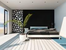 Πολυτελές εσωτερικό κρεβατοκάμαρων με το τεράστιο κρεβάτι Στοκ Φωτογραφίες