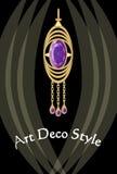 Πολυτελές κόσμημα deco τέχνης, σκουλαρίκι με τον πορφυρό αμέθυστο πολύτιμων λίθων, βικτοριανό ντεμοντέ ύφος, παλαιός ακριβός χρυσ διανυσματική απεικόνιση