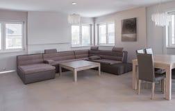 Πολυτελές σύνολο καναπέδων δέρματος Στοκ Εικόνες