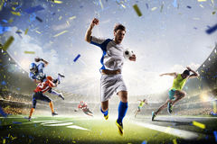 Πολυ αμερικανικό ποδόσφαιρο και τρέξιμο ποδοσφαίρου αθλητικών κολάζ Στοκ φωτογραφία με δικαίωμα ελεύθερης χρήσης