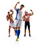 Πολυ εγκιβωτισμός αμερικανικού ποδοσφαίρου ποδοσφαίρου αθλητικών κολάζ στοκ φωτογραφίες με δικαίωμα ελεύθερης χρήσης