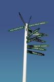 Πολυ κατευθυντικό σημάδι που δείχνουν τις πόλεις και το νότο και βόρειος πόλος στη Νέα Ζηλανδία Στοκ Εικόνα