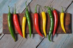 Πολυ χρωματισμένα καυτά πιπέρια τσίλι Στοκ φωτογραφία με δικαίωμα ελεύθερης χρήσης