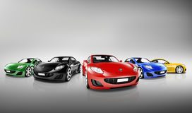 Πολυ χρωματισμένα τρισδιάστατα σύγχρονα αυτοκίνητα διανυσματική απεικόνιση
