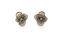 Πολυ χρωματισμένα floral σκουλαρίκια διαμαντιών σοκολάτας άσπρα και μαύρα Στοκ εικόνες με δικαίωμα ελεύθερης χρήσης