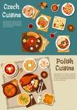 Πολωνικά και τσεχικά γεύματα μπαρ με το επίπεδο εικονίδιο μπύρας απεικόνιση αποθεμάτων