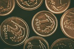 Πολωνικά νομίσματα Grosze Στοκ φωτογραφίες με δικαίωμα ελεύθερης χρήσης