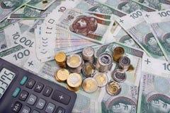 Πολωνικοί μισθός και υπολογιστής χρημάτων στοκ εικόνα