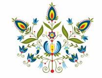 Πολωνικός λαός με διακοσμητικός floral διανυσματική απεικόνιση