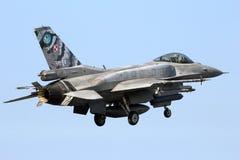 Πολωνικό αεριωθούμενο αεροπλάνο πολεμικό αεροσκάφος F-16 Πολεμικής Αεροπορίας Στοκ Φωτογραφίες